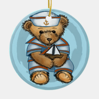 Sailor Teddy Bear Round Ceramic Decoration