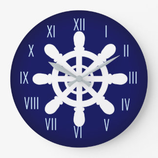 Sailor Wheel clock blue