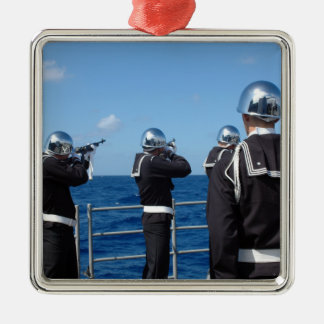 Sailors fire a gun salute during a burial-at-se Silver-Colored square decoration