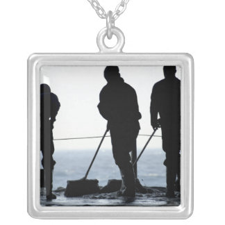 Sailors sweep out the hangar bay silver plated necklace