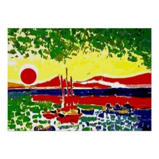 Sails and Beach Sunset Posters