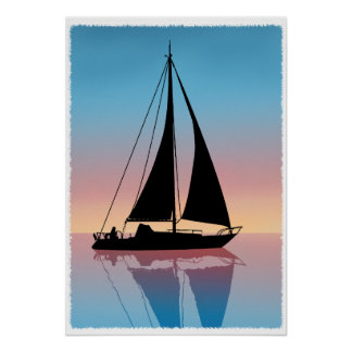 Sails at Sunset Silhouette Poster