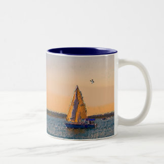 Sails In The Sunset Two-Tone Coffee Mug