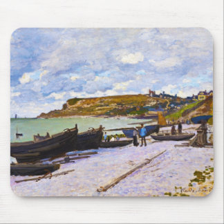 Saint-Adresse, Fishing Boats on the Shore Monet Mouse Pad