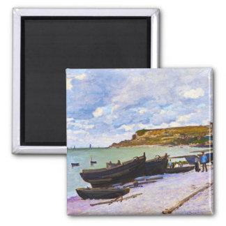 Saint-Adresse, Fishing Boats on the Shore Monet Square Magnet