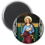 Saint Agnes (Agnes of Rome) - Stained Glass Art Magnet