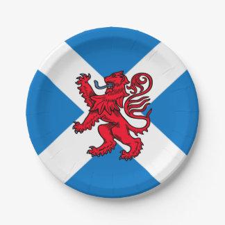 Saint Andrew's Cross Scottish Flag & Lion Rampant 7 Inch Paper Plate