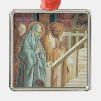 Saint Anne and Joachim at the Presentation of Silver-Colored Square Decoration