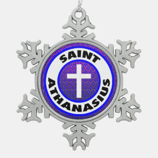 Saint Athanasius Snowflake Pewter Christmas Ornament