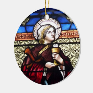 Saint Barbara Stained Glass Window Christmas Ornament
