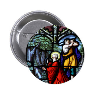 Saint Barbara's Martyrdom Stained Glass Art 6 Cm Round Badge