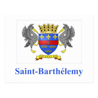 Saint Barthelemy Flag with Name in French Postcard