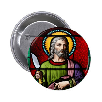 Saint Bartholomew (the Apostle) Stained Glass Art 6 Cm Round Badge