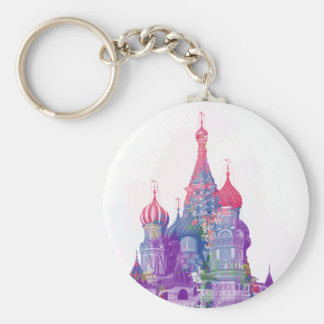 Saint Basil's Cathedral Moscow Basic Round Button Key Ring