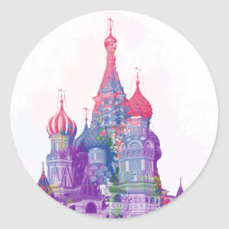Saint Basil's Cathedral Moscow Round Sticker