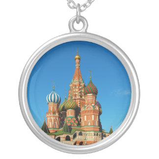 Saint Basil's Cathedral Moscow Russia Round Pendant Necklace