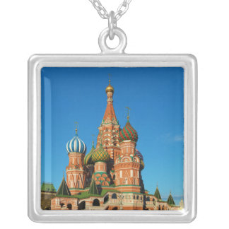 Saint Basil's Cathedral Moscow Russia Square Pendant Necklace