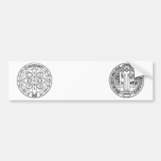 Saint Benedict Cross Medal both sides Bumper Stickers