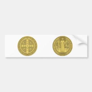Saint Benedict Cross Medal in Gold Bumper Stickers