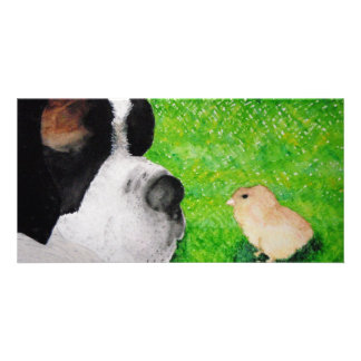 Saint Bernard and Baby Chick Personalised Photo Card