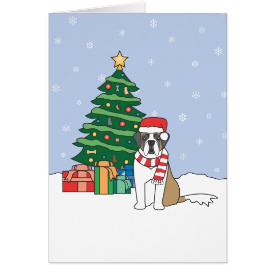 Saint Bernard and Christmas Tree Card