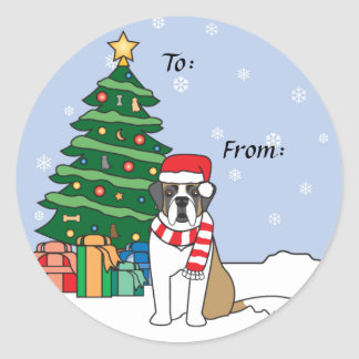 Saint Bernard and Christmas Tree Classic Round Sticker