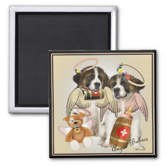 Saint Bernard Angel Baby gifts Square Magnet