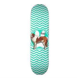 Saint Bernard; Aqua Green Chevron Custom Skate Board