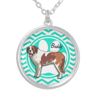Saint Bernard Aqua Green Chevron Personalized Necklace