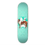 Saint Bernard; Aqua Green Chevron Skate Board Decks