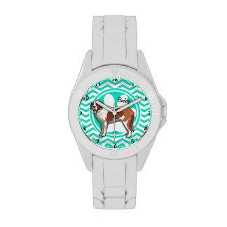 Saint Bernard Aqua Green Chevron Watch