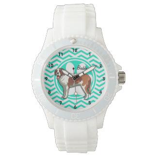Saint Bernard; Aqua Green Chevron Wrist Watches