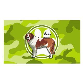 Saint Bernard bright green camo camouflage Business Cards