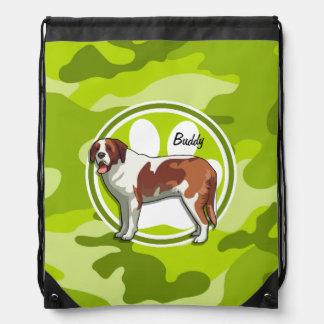 Saint Bernard bright green camo camouflage Drawstring Bag