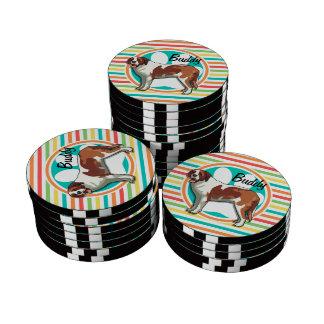 Saint Bernard; Bright Rainbow Stripes Poker Chips