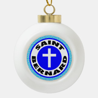 Saint Bernard Ceramic Ball Christmas Ornament