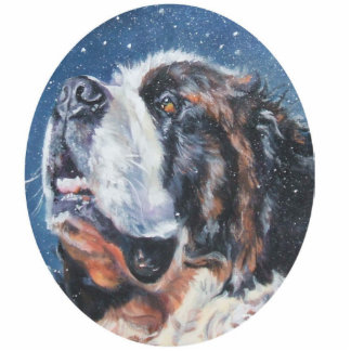 saint bernard Christmas Ornament Photo Sculpture Decoration