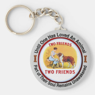 Saint Bernard Dog and Pet Lovers Basic Round Button Key Ring