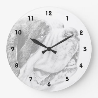 Saint Bernard dog art Large Clock