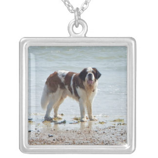 Saint Bernard dog at beach necklace, gift idea Square Pendant Necklace