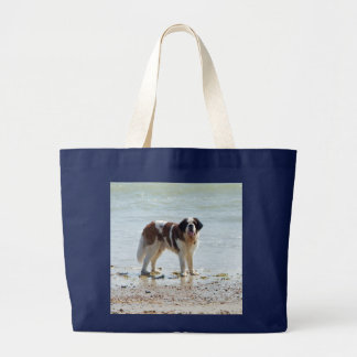 Saint Bernard dog at the beach tote bag gift idea