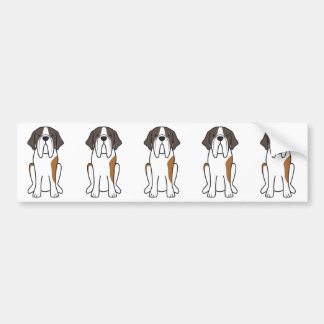Saint Bernard Dog Cartoon Bumper Sticker