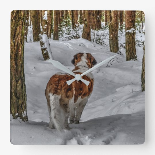 Saint Bernard dog clock