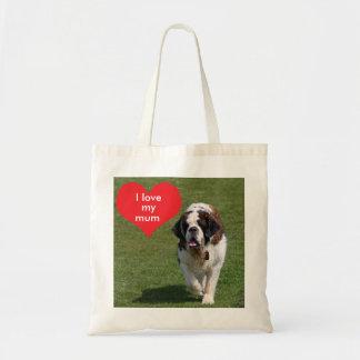 Saint Bernard dog, I love heart my mum tote bag