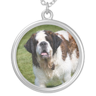 Saint Bernard dog necklace, gift idea Round Pendant Necklace