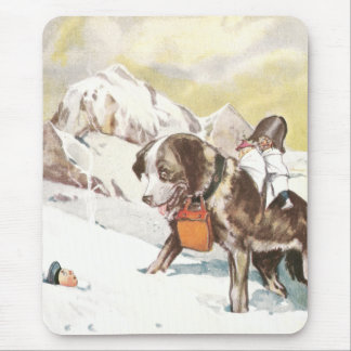 Saint Bernard Dog to the Rescue Mouse Pad