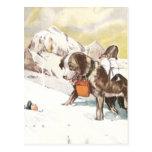 Saint Bernard Dog to the Rescue Postcard