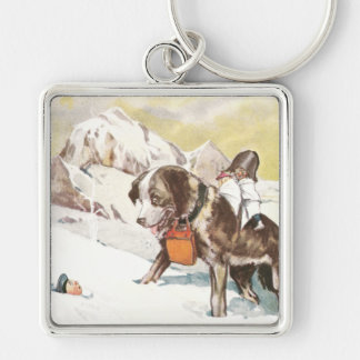 Saint Bernard Dog to the Rescue Silver-Colored Square Key Ring