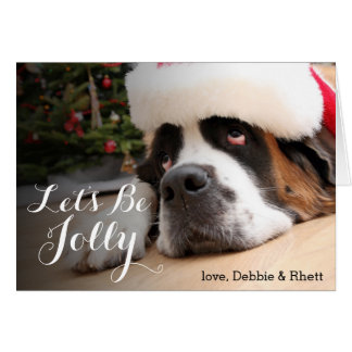 Saint Bernard dog with Santa Hat Card