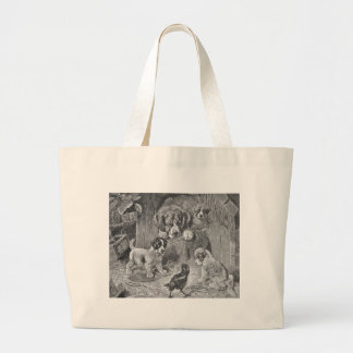 Saint Bernard Dogs and Crow Tote Bags